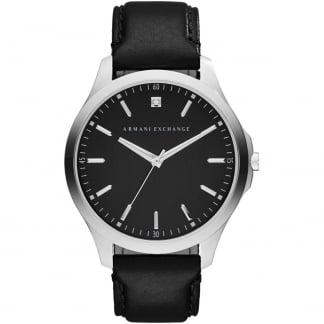 Men's Single Diamond Black Leather Strap Watch