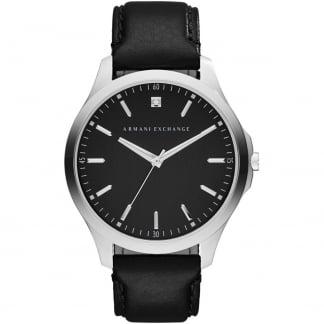 Men's Single Diamond Black Leather Strap Watch AX2182