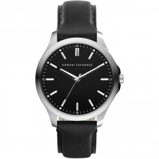 Men's Sleek Black Leather Strap Watch AX2149