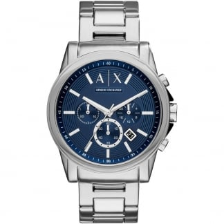 Men's Stainless Steel Blue Chronograph Watch