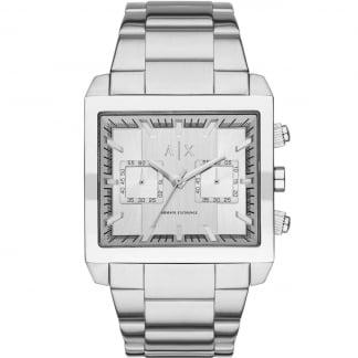 Men's Steel Tank-Shaped Chronograph Watch AX2223