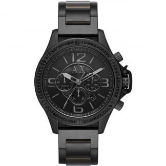 Men's Stone Set Black Steel Chronograph Watch AX1520