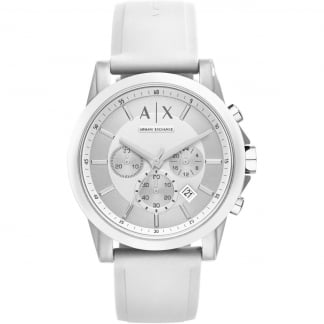 Men's White Rubber Chronograph Watch AX1325