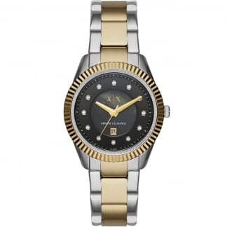 Women's Two Tone Crystal Set MOP Dial Watch AX5433