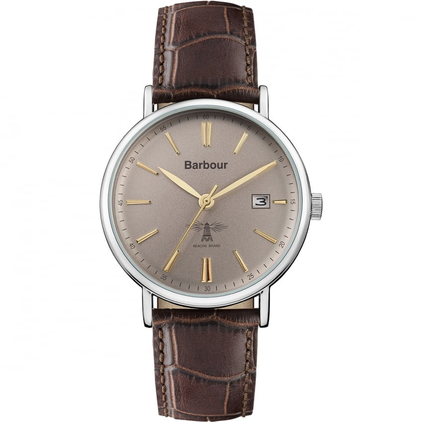 Barbour Grey Dial Brown Strap Watch BB069GYBR