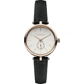 Ladies Lisle Black Leather Strap Watch