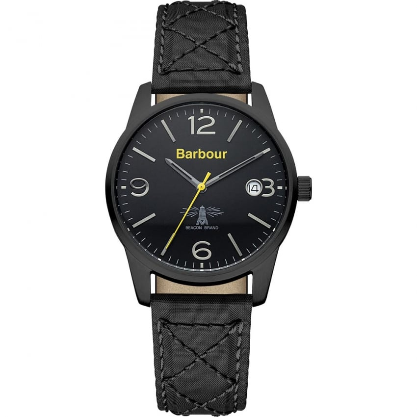 Barbour Men's Alanby Black Quilted Strap Watch BB026BKBK