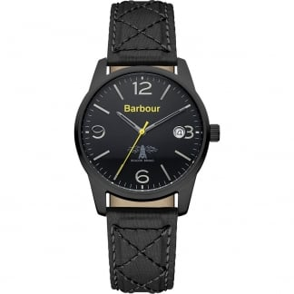 Men's Alanby Black Quilted Strap Watch