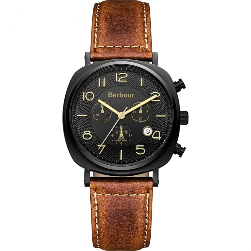 Barbour Men's Beacon Tan Leather Chronograph Watch BB019BKTN