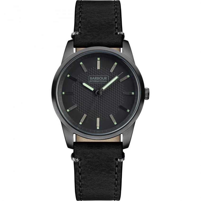 Men's Jarrow Black Leather Strap Watch BB026GNBK