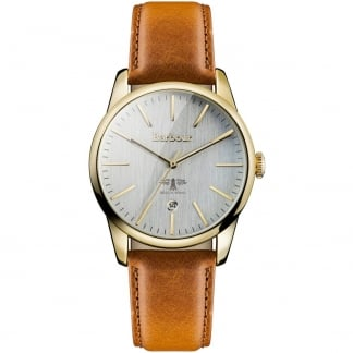 Men's Gold Leighton Tan Strap Watch