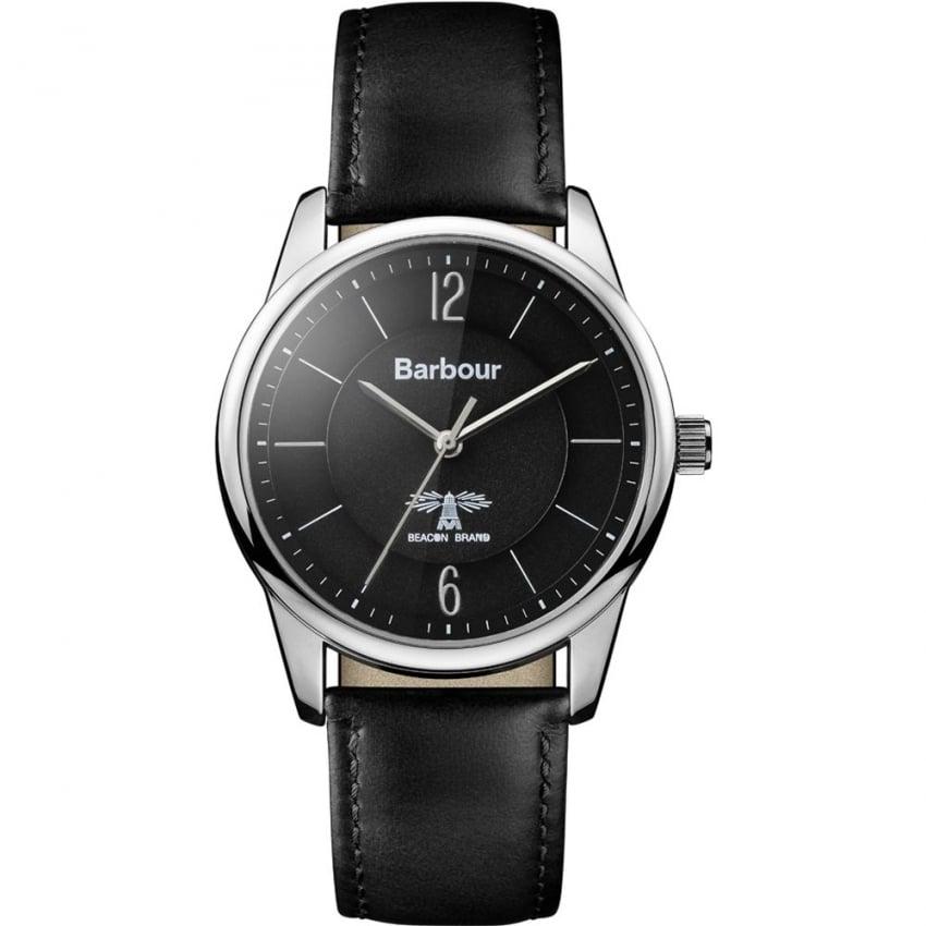 Barbour Men's Mortimer Black Leather Strap Watch BB049SLBK