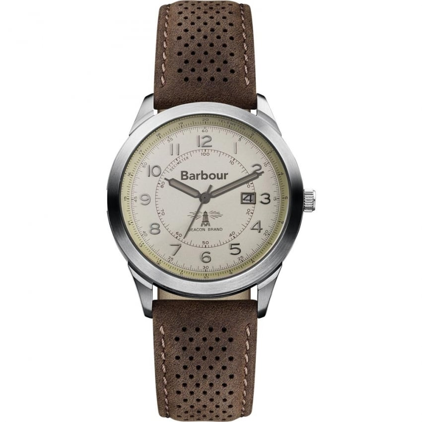 Barbour Men's Walker Brown Leather Strap Watch BB017CPBR