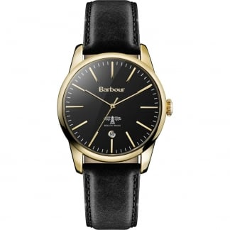 Men's Leighton Gold Plated Black Strap Watch