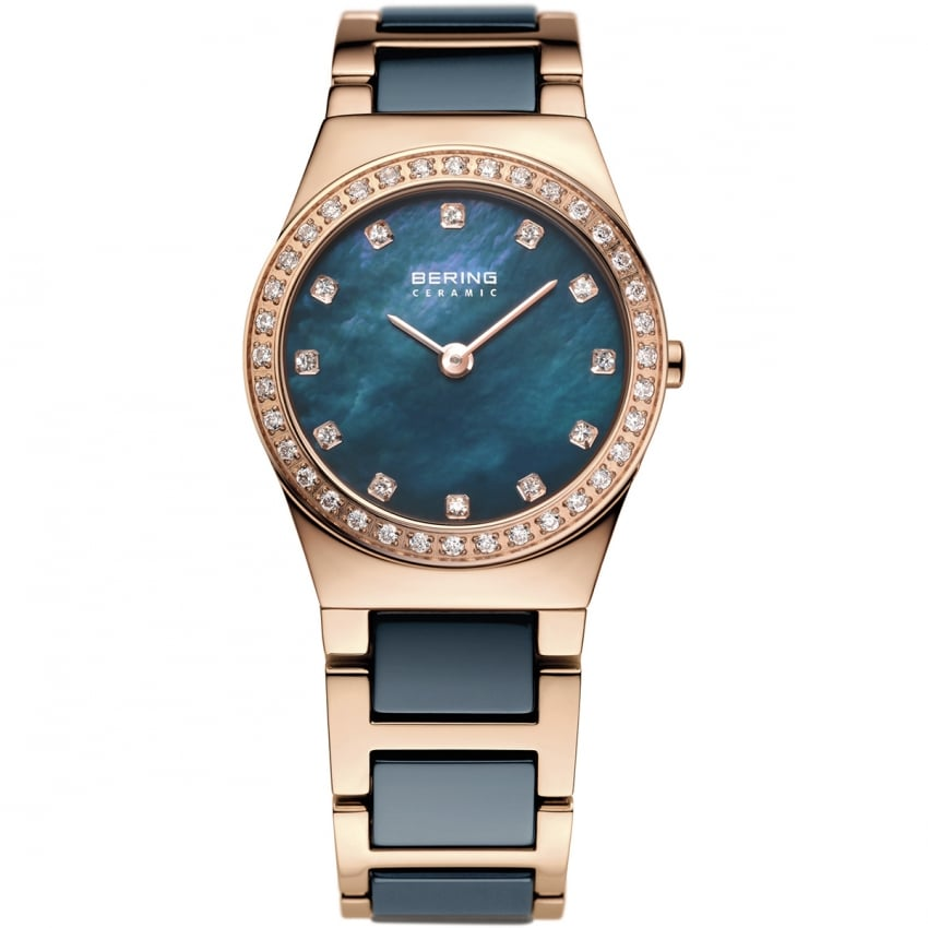 Bering Ladies Blue Ceramic & Rose Gold Plated Watch 32426-767