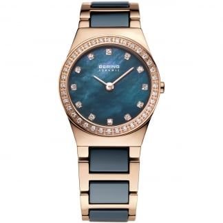 Ladies Blue Ceramic & Rose Gold Plated Watch