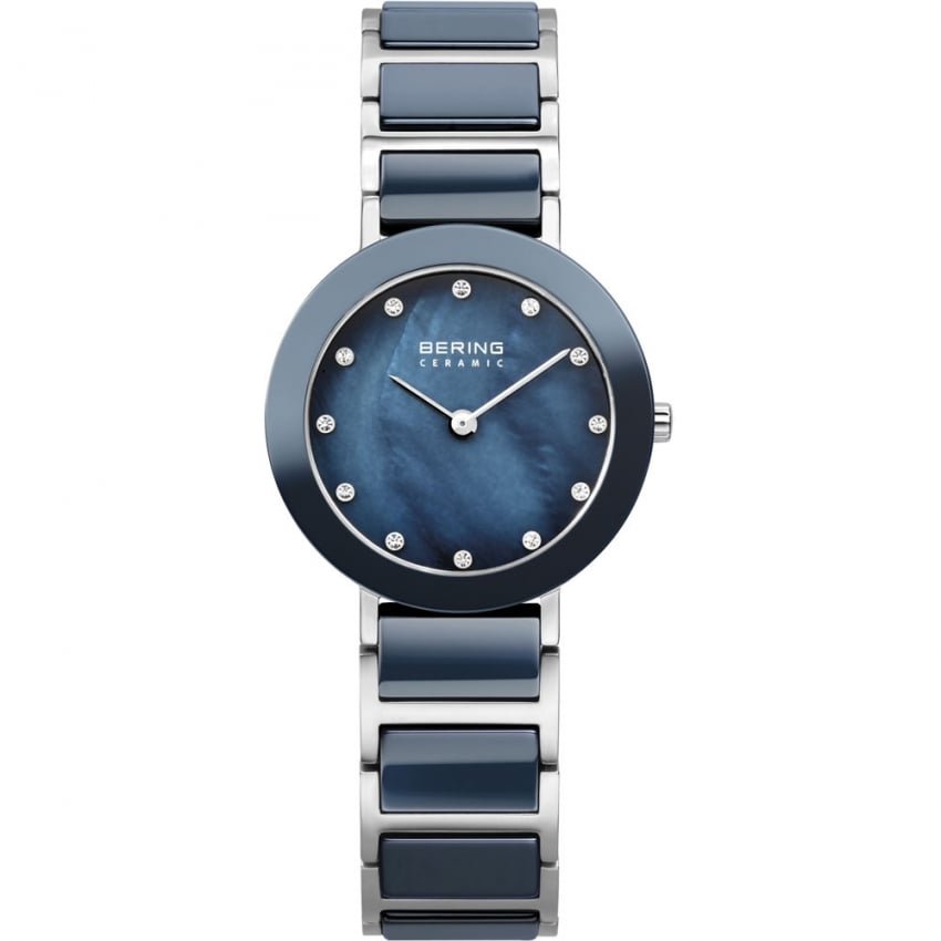 Bering Ladies 28MM Swarovski Set Blue MOP Ceramic & Steel Watch 11429-787