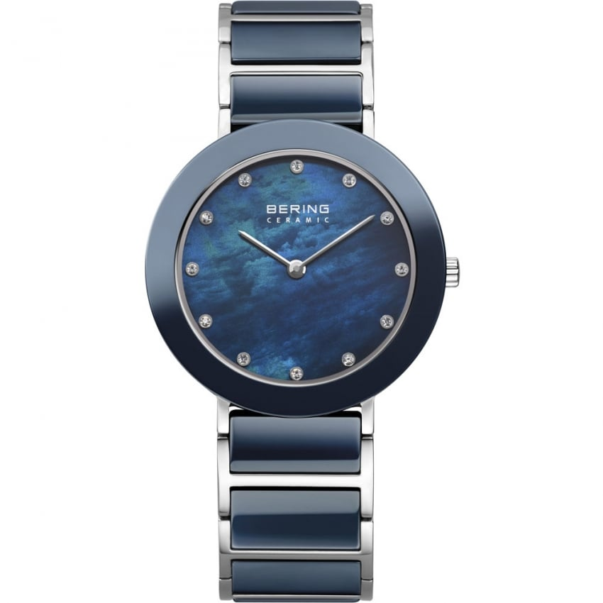 Bering Ladies 34MM Ceramic Blue MOP Swarovski Set Watch 11435-787