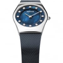 Bering Ladies Classic Swarovski Blue Milanese Bracelet Watch 11927-307