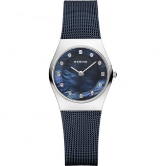Ladies Classic Swarovski Blue Milanese Bracelet Watch