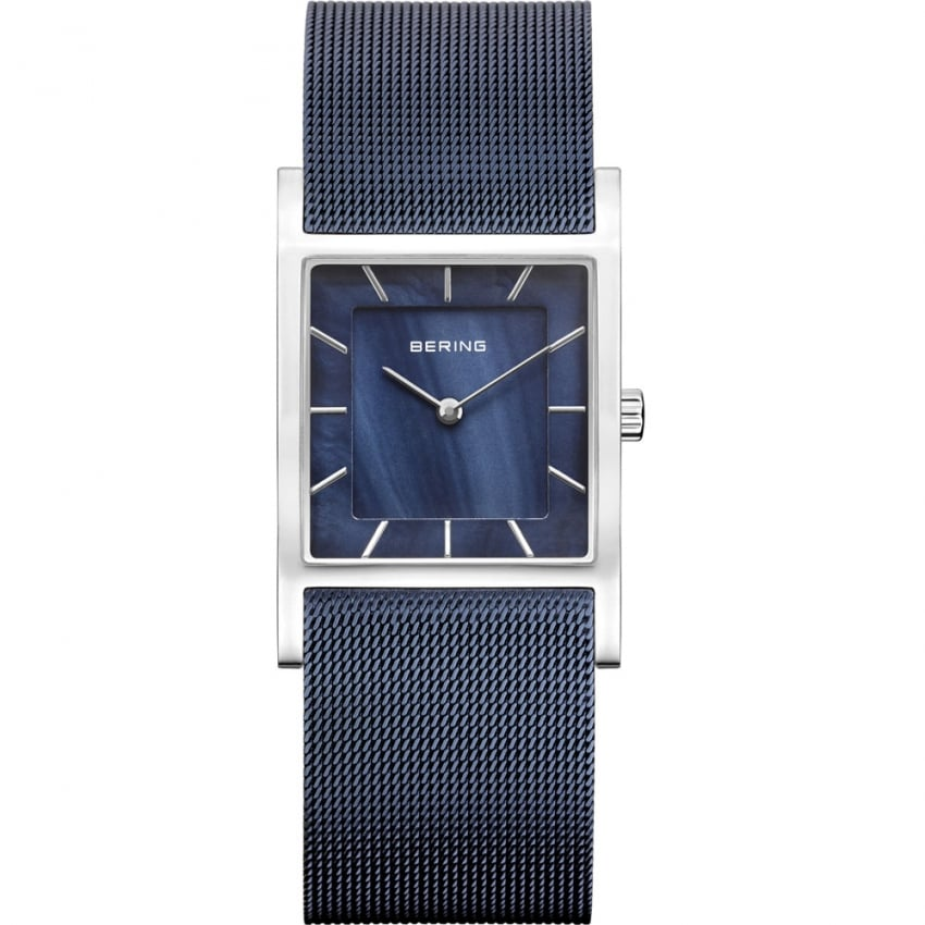 Bering Ladies Classic Square Blue Mesh Bracelet Watch 10426-307