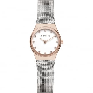 Ladies Classic Steel & Rose Gold Mesh Bracelet Watch