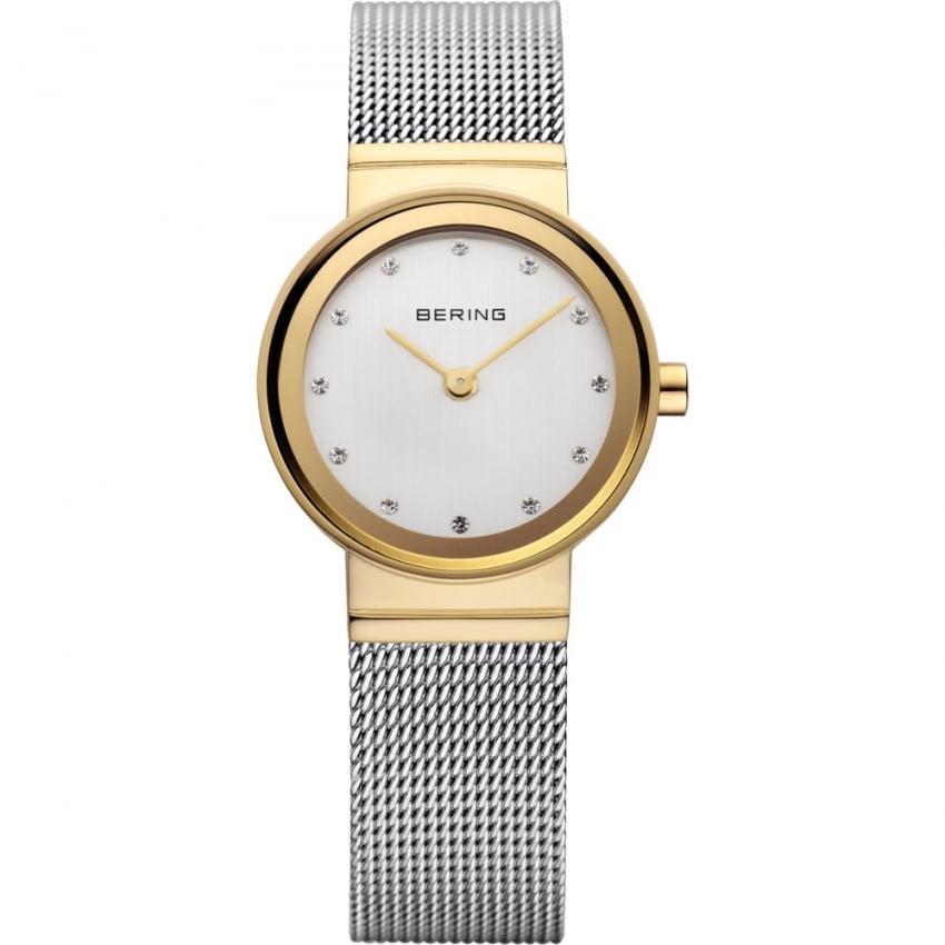 Bering Ladies Classic Two Tone Mesh Swarovski Set Watch 10122-001