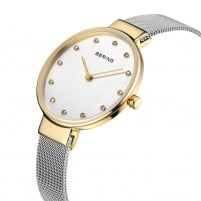 Bering Ladies Classic Two Tone Silver Dial Watch 12034-010