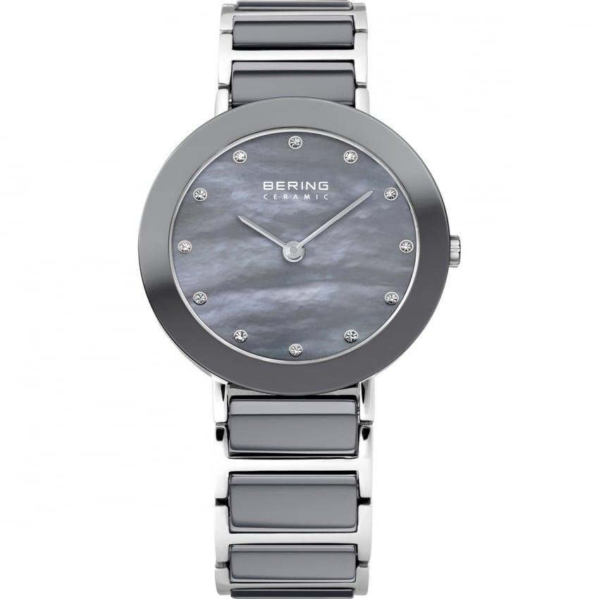 Bering Ladies Grey Ceramic & Steel Watch 11429-789