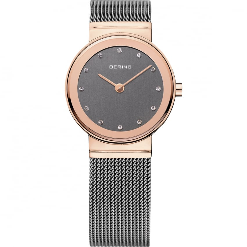 Bering Ladies Rose Gold Classic Mesh Bracelet Watch 10126-369
