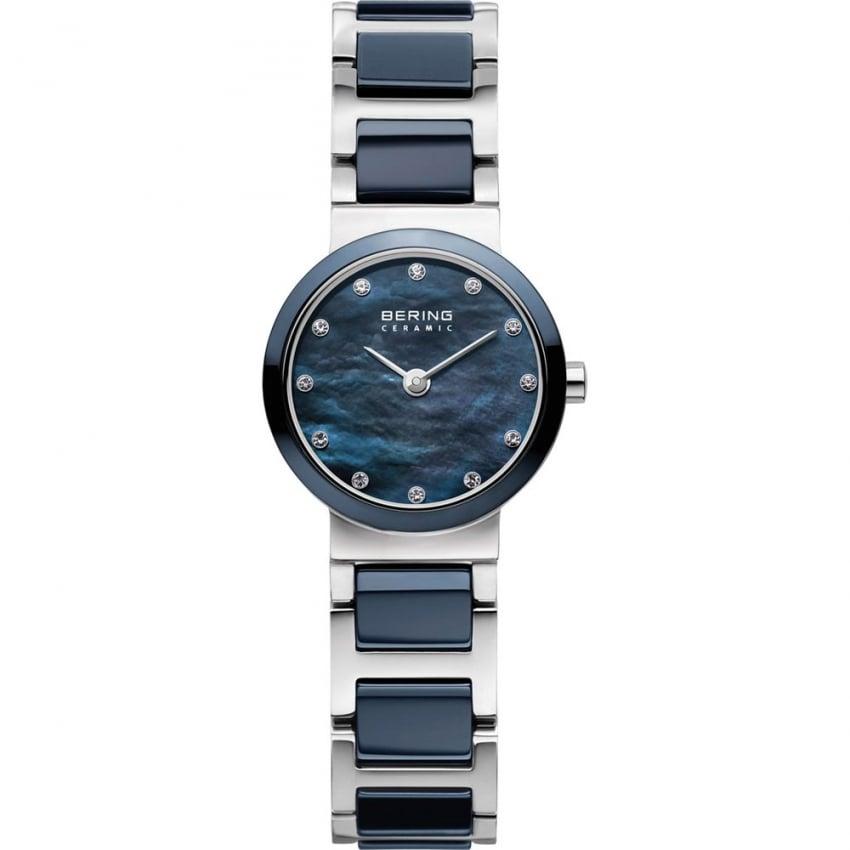 Bering Ladies 28MM Steel & Blue Ceramic Swarovski Set Watch 10729-787