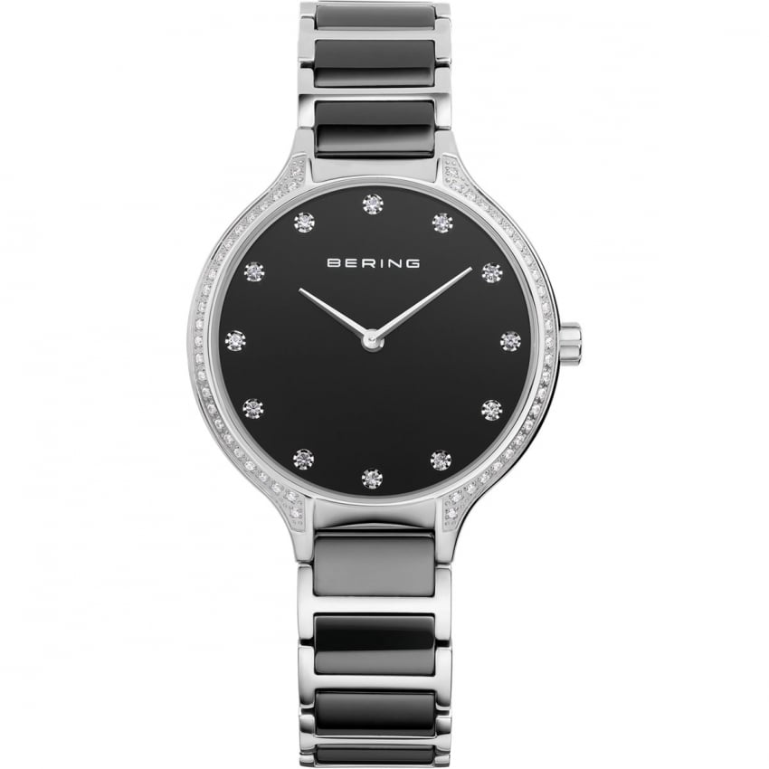 Bering Ladies Stone Set Black Ceramic Watch 30434-742