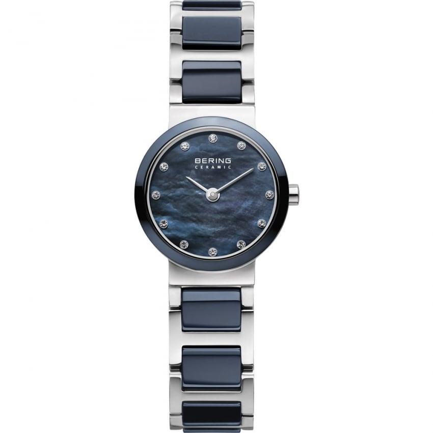 Bering Ladies 25mm Swarovski Set Blue Ceramic & Steel Watch 10725-787