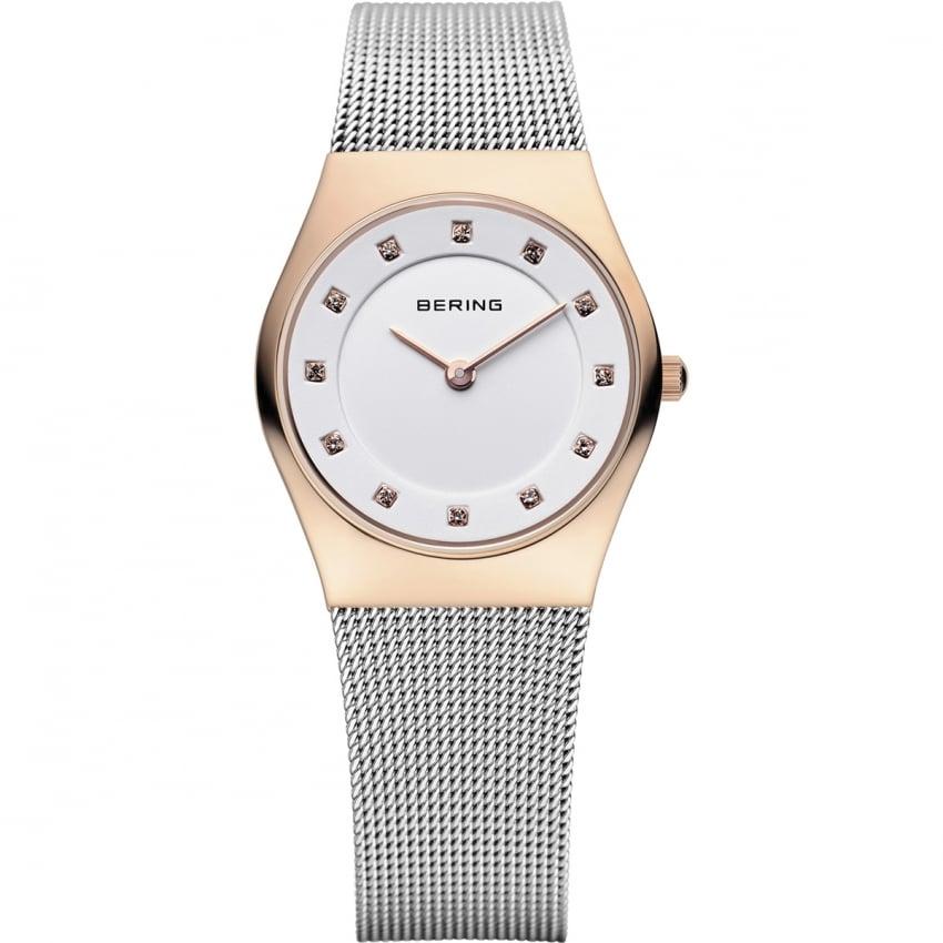 Bering Ladies White Dial Mesh Bracelet Watch 11927-064