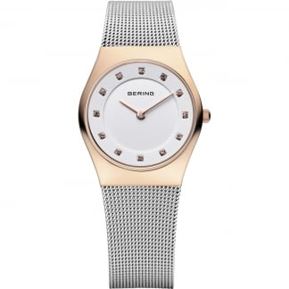 Ladies White Dial Mesh Bracelet Watch