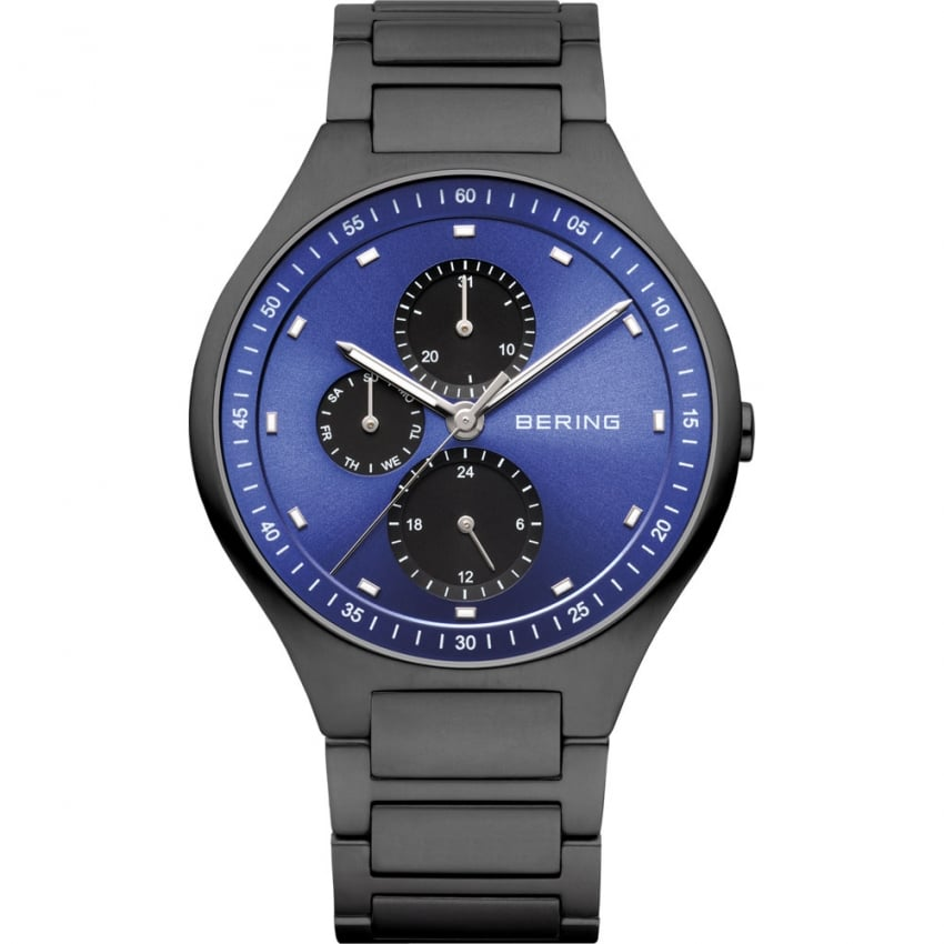 Bering Men's Black Titanium Blue Dial Multifunction Watch 11741-727