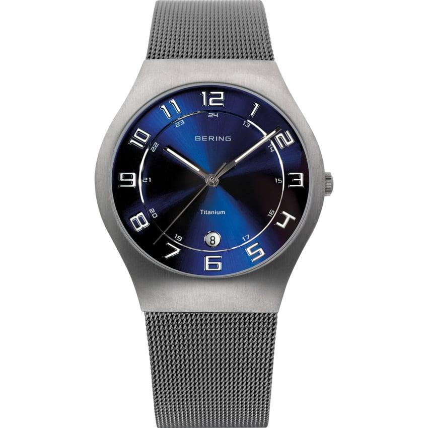 Bering Men's Blue Dial Titanium Mesh Watch 11937-078