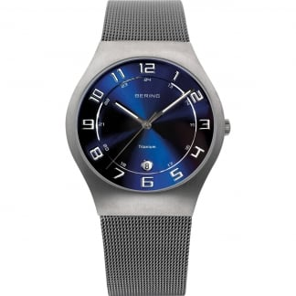 Men's Blue Dial Titanium Mesh Watch