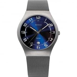 Men's Blue Dial Titanium Mesh Watch 11937-078
