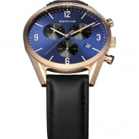 Bering Men's Rose Gold Classic Black Leather Chronograph Watch 10542-567