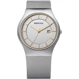 Men's Silver Mesh Classic Quartz Watch