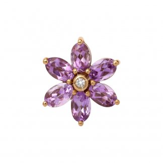 Big Amethyst Flower Gold Charm