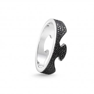Black Diamond Fusion End Ring In 18ct White-Gold (Size N)