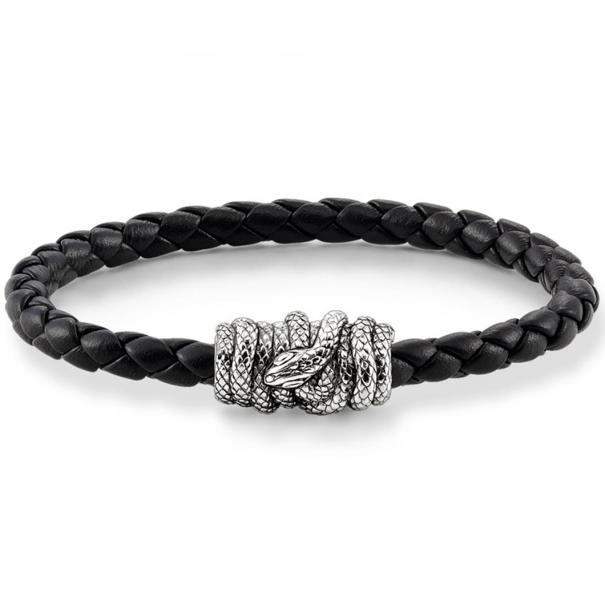 Thomas Sabo Black Plaited Leather with Snake Clasp Bracelet UB0013-823-11