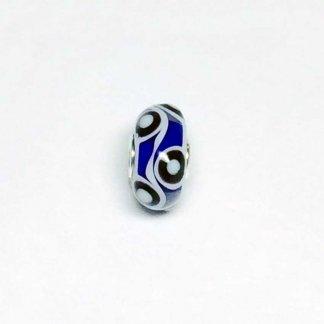 Black & White Circles On Blue Unique Bead UNIQUE168