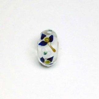 Blue Flowers With Gold Glitter Stem Unique Bead UNIQUE161