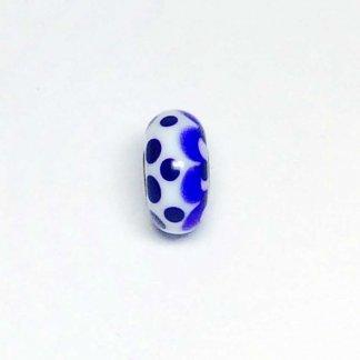 Blue Petals & Dots On White Unique Bead UNIQUE169