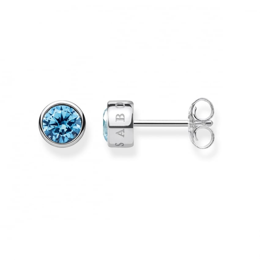 Thomas Sabo Blue Stone Bezel Set Ear Studs H1963-009-31