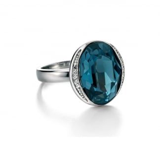 Blue Swarovski Crystal & Clear CZ Ring