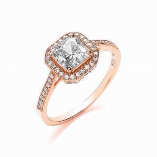Rose Gold Delicate Square Ring BR091